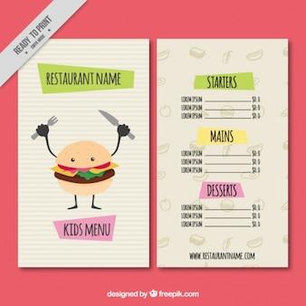 Restaurant menu with nice hamburger