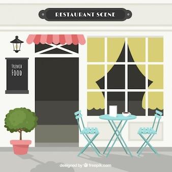 Restaurant scene, blue table for two