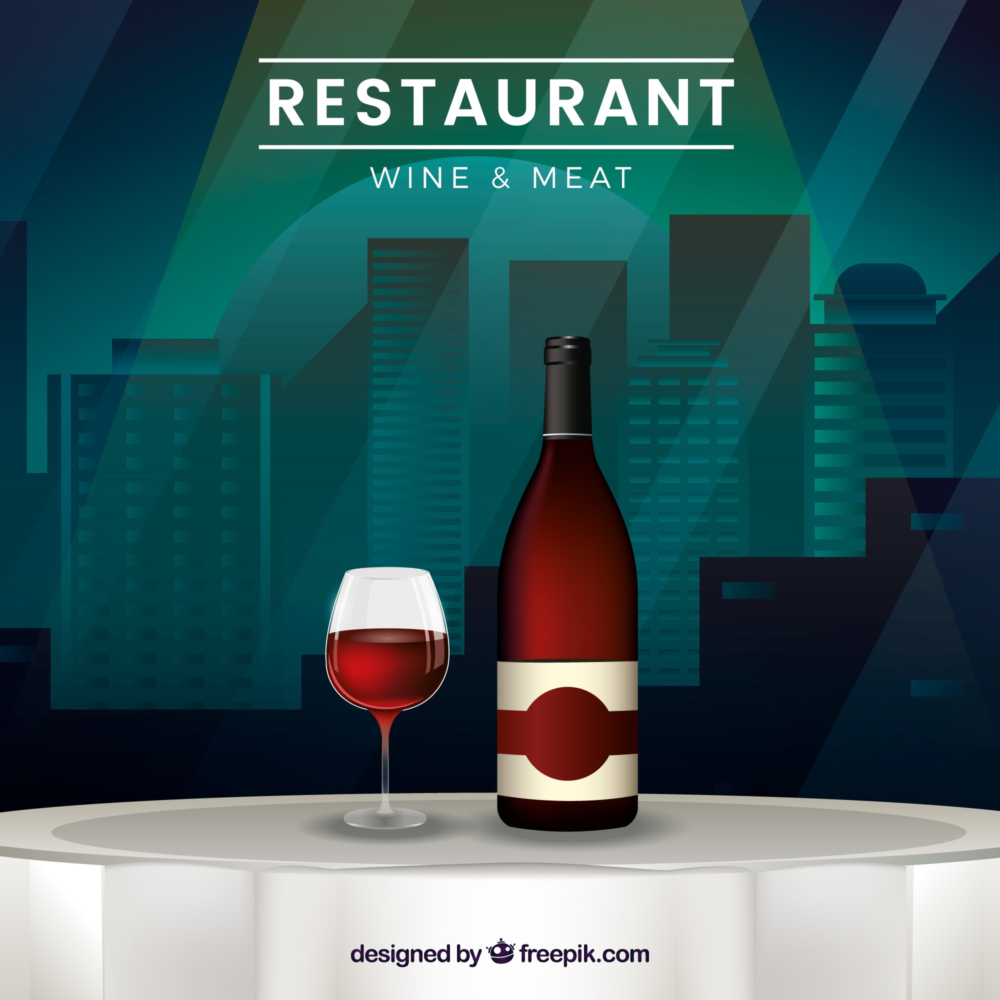 Restaurant table background with bottle of wine and glass