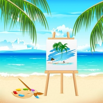 Restful tropical vacation with easel and palette