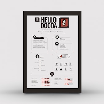 Resume template with black frame
