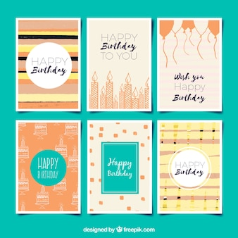 Retro abstract birthday cards pack