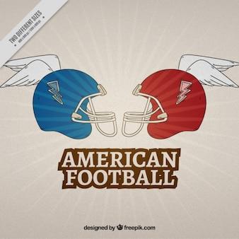 Retro american football background of helmet with helmet
