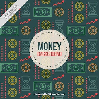 Retro background of banknotes and coins