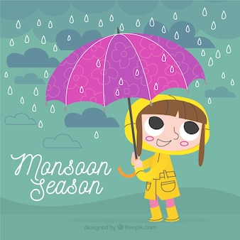 Retro background of girl with raincoat and umbrella
