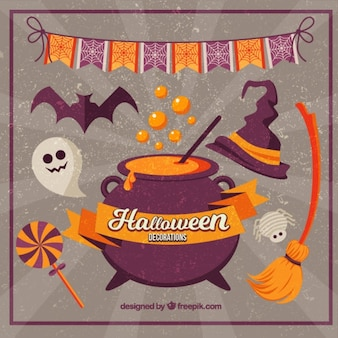 Retro background of halloween decorations