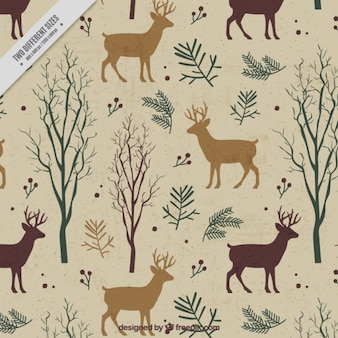 Retro background of reindeer and trees