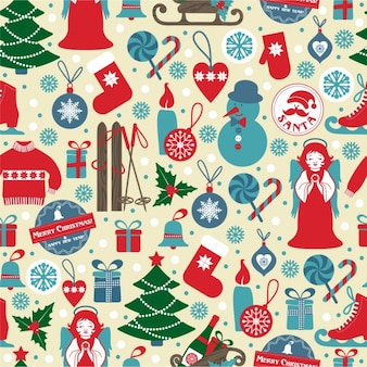 Retro background with christmas elements