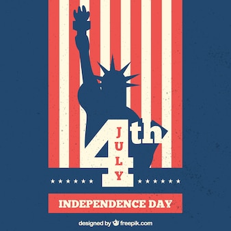 Retro background with statue of liberty for independence day