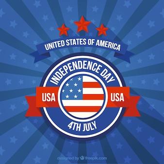 アメリカ独立記念日バッジを持つレトロ背景