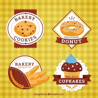 Retro badges of bakery with delicious products