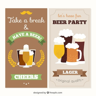 Retro banners types of beer