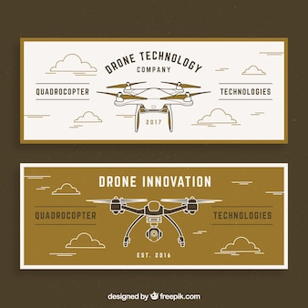 Retro banners with drones