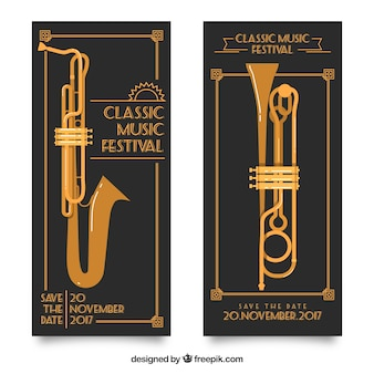 Retro banners with musical instruments