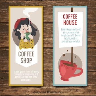 Retro banners with nice coffee illustrations