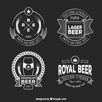 Retro beer emblems set