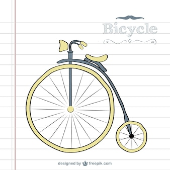 Retro bicycle doodle vector