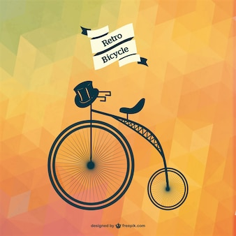 Retro bicycle with black hat and polygonal background