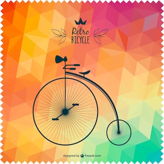 Retro bicycle with polygonal background