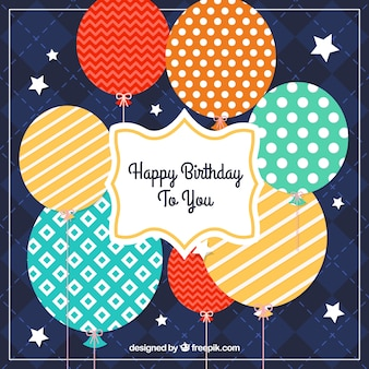 Retro birthday balloons card