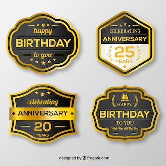 Retro birthday stickers pack