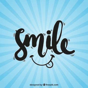 Retro blue background with the word  smile
