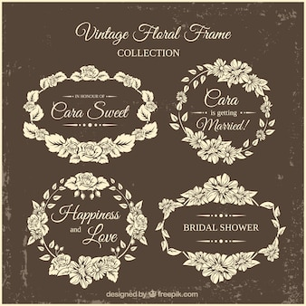 Retro bridal shower frames with floral decoration