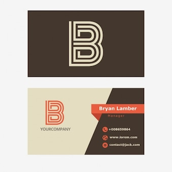 Retro Business Card With B Letter Logo