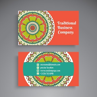 Retro business card with mandala decoration