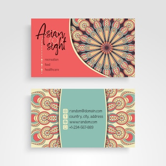 Retro business card with mandalas