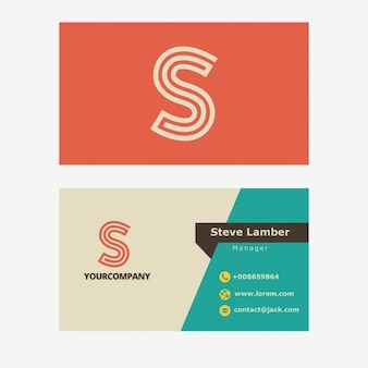 Retro business card with S letter