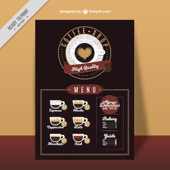 Retro cafe menu with types of coffee