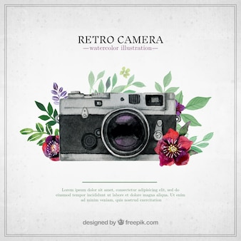 Retro camera in hand painted style