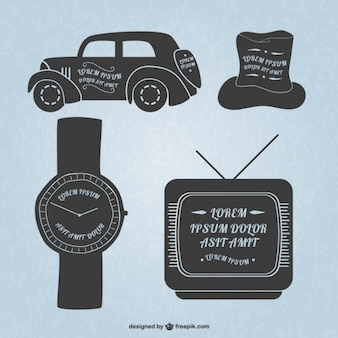Retro car, watch, hat and television