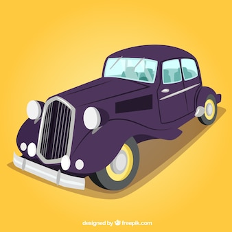 Retro car in purple color