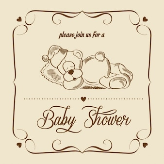 Retro card for baby shower