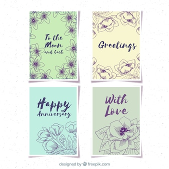 Retro card set with hand drawn flowers