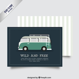 Retro card template with a van