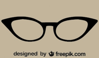 Retro Cat-Eye Vector Glasses Icon