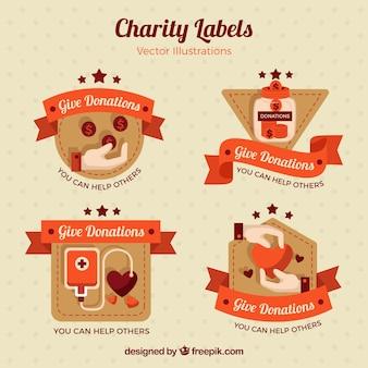 Retro charity labels set