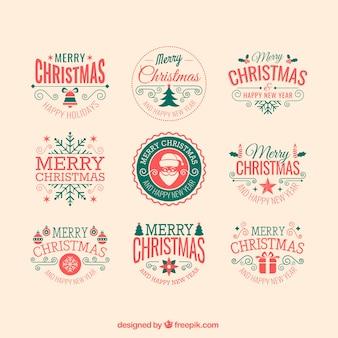 Retro christmas badges