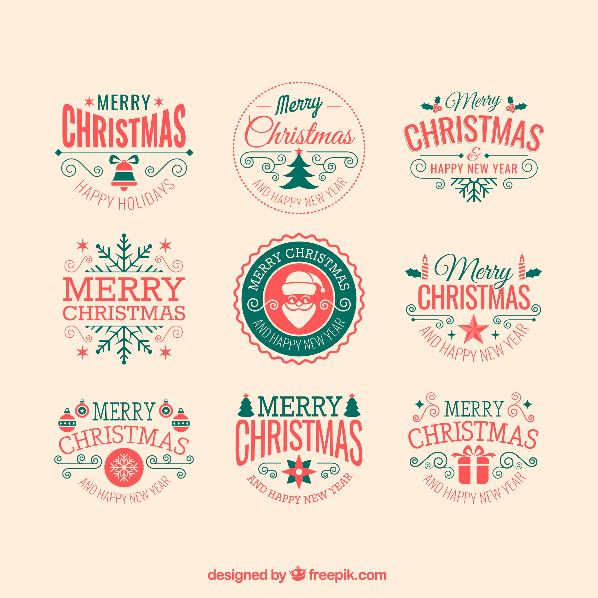 Retro christmas badges