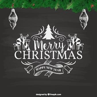 Ретро рождественская открытка в стиле доски