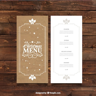 Retro christmas menu template in cardboard style