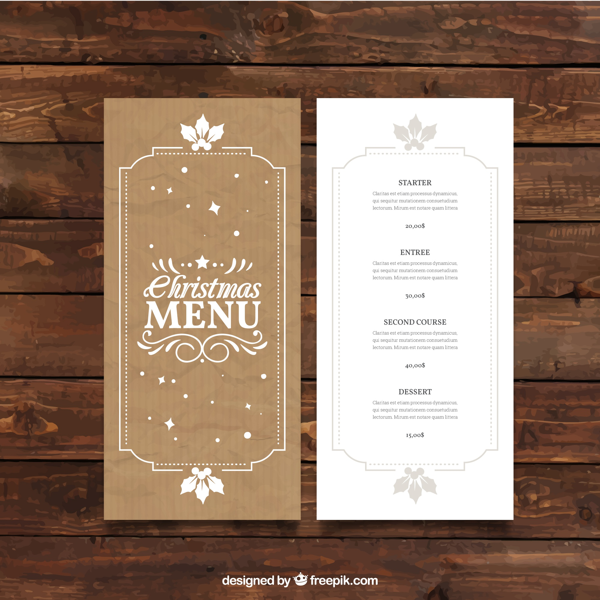 Retro christmas menu template in cardboard style