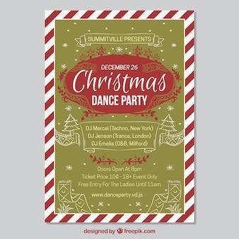 レトロ、クリスマスパーティー、ポスター、スケッチ
