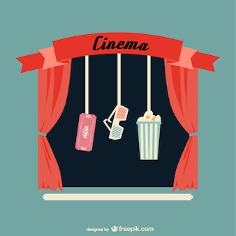 Retro cinema with red curtains and popcorn