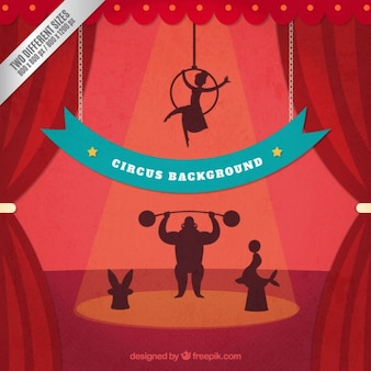 Retro circus silhouettes background
