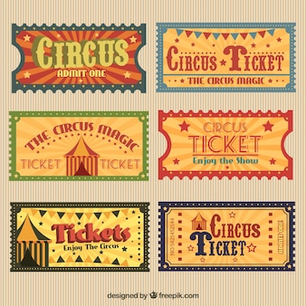 Retro circus tickets pack