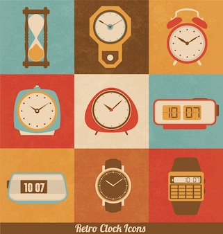 Retro clock icons
